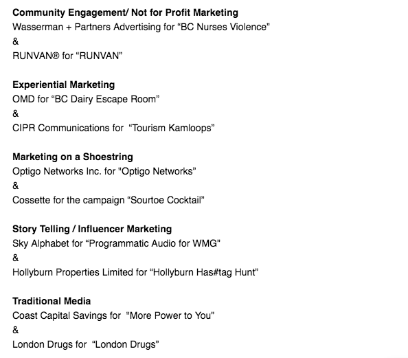 BCAMA Marketing Excellence Award finalists