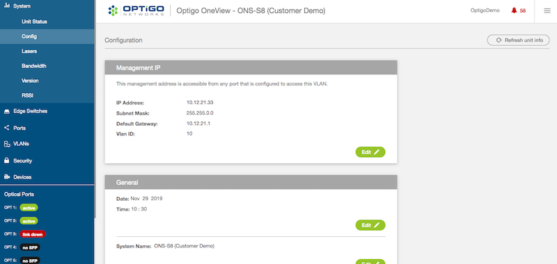Optigo OneView Config