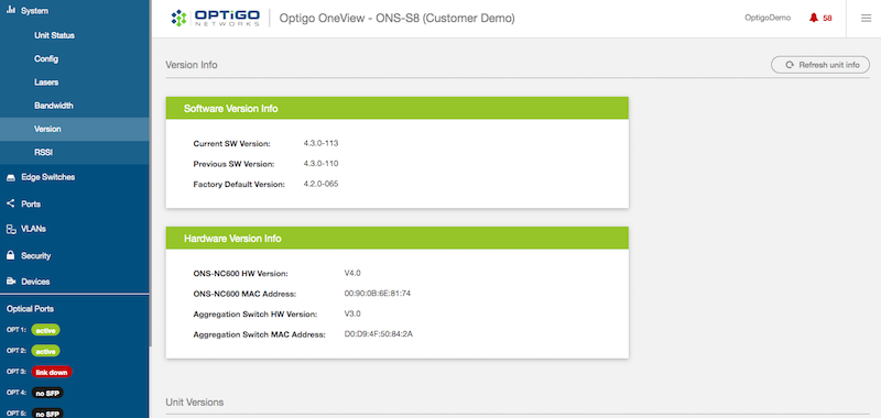 Optigo OneView Version