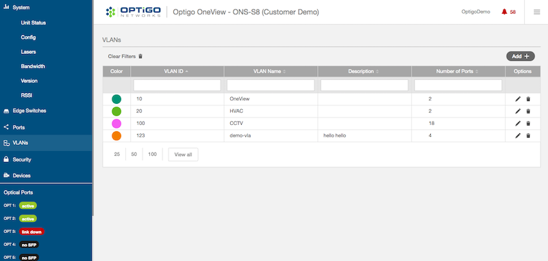 Optigo OneView VLANs